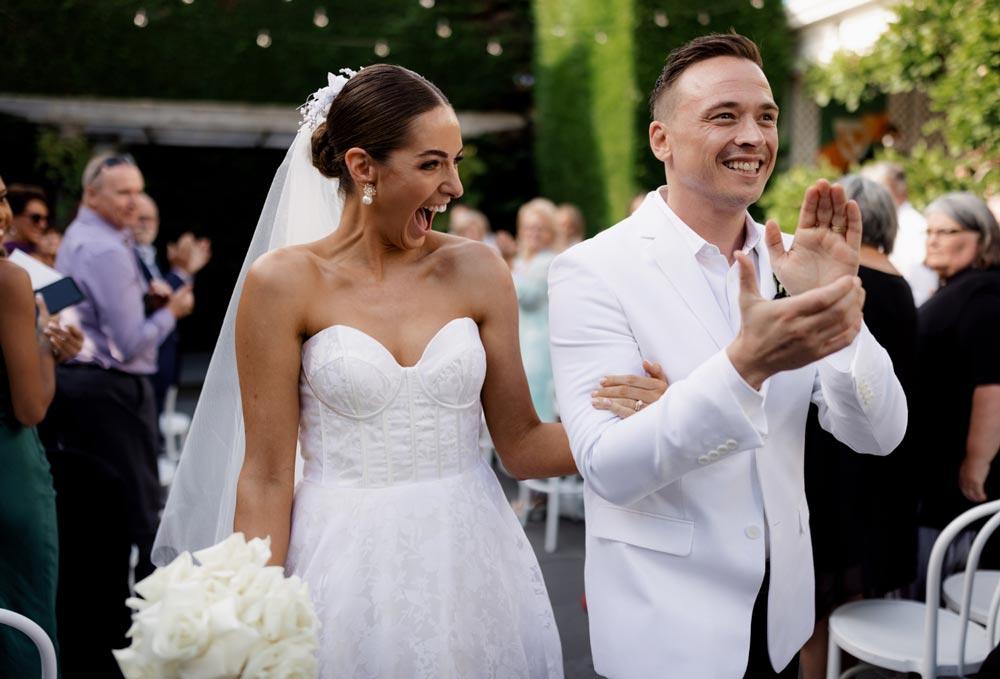 big smile bride and groom